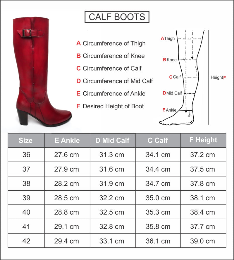 Wine Knee Height Blocked Heel Ladies Leather Boots with By Brune