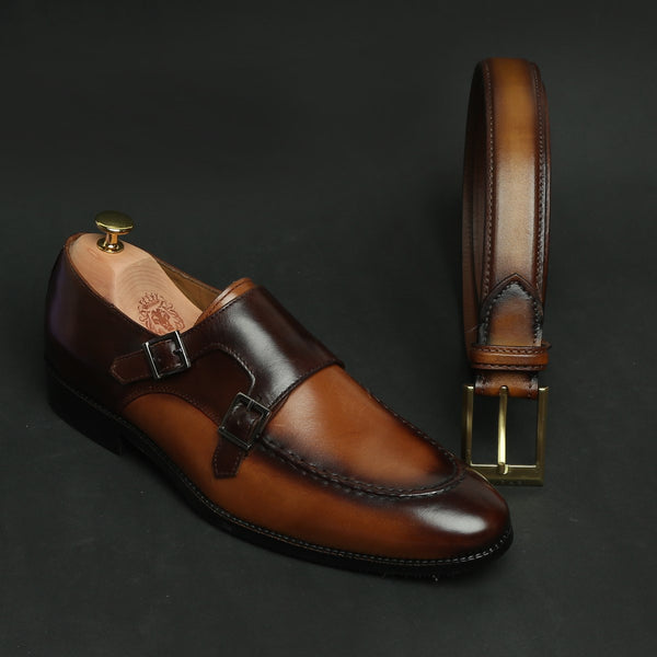 TAN COMBO DUAL SHADE CONTRASTING MONK LEATHER SHOES BY BRUNE AND GOLDEN MATTE BUCKLE BELT