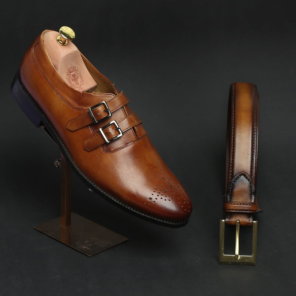 TAN COMBO TAN PARALLEL DOUBLE MONK STRAPS LEATHER FORMAL SHOES BY BRUNE AND GOLDEN MATTE BUCKLE BELT