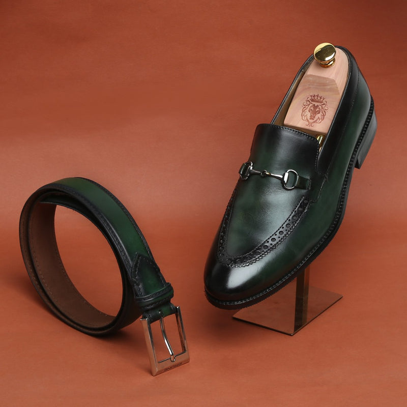 Combo of Green Brogue Design Horsebit Leather Loafers by Brune and matching Belt