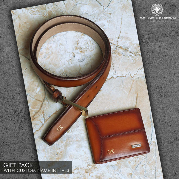 Tan Leather Belt and Wallet Combo by Brune & Bareskin