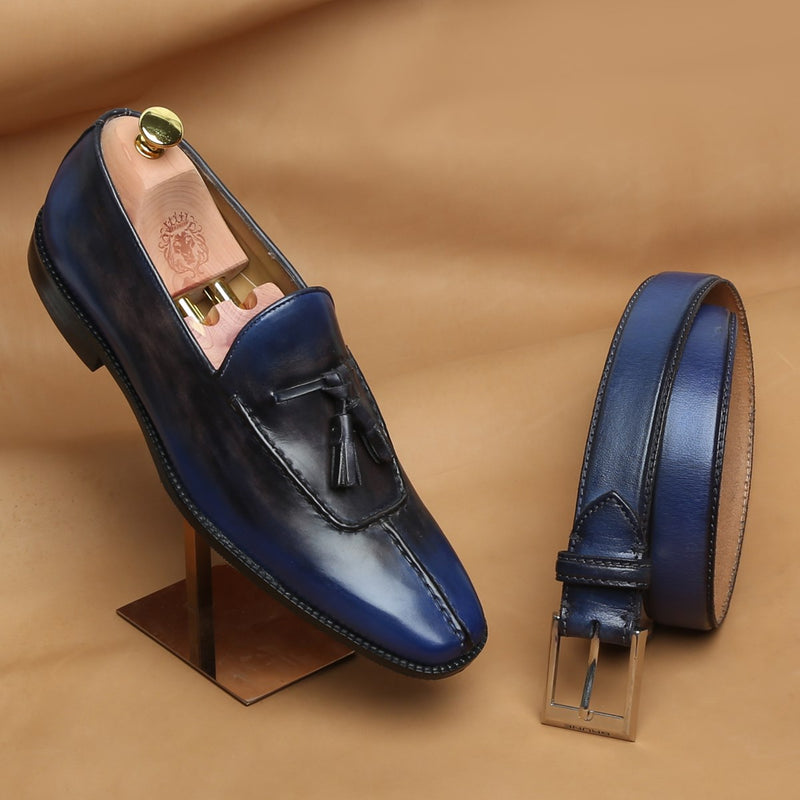 Combo of Rusty Look Blue-Black Leather Tassel Slip-on By Brune and Matching Belt