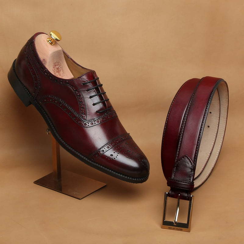 Combo of Wine Mod Quarter Brogue Leather Oxfords Shoes by Brune and matching Belt