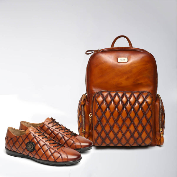 Tan Combo Brune Classic Leather Backpack/Laptop Bag And Diamond Stitched Metal Lion Leather Sneakers By Bareskin
