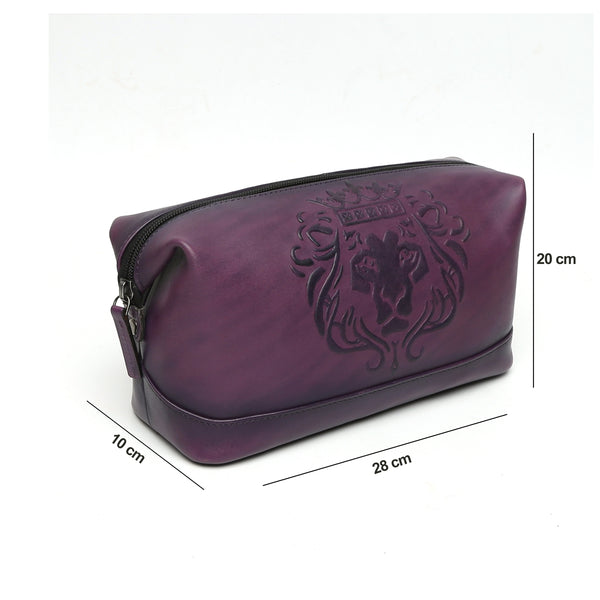 PURPLE COLOR KIT BAG WITH BARE SKIN LION LOGO EMBOSSED