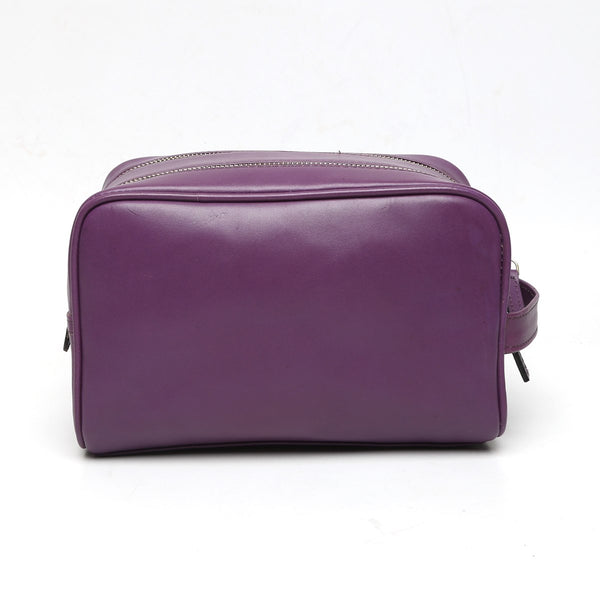 Brune purple color Leather shaving kit / bathroom kit .