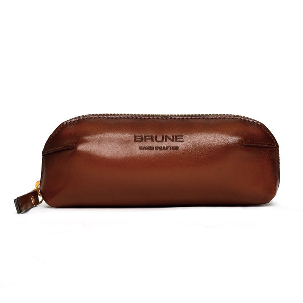 Brown Leather Eyewear Glasses Cover by BRUNE