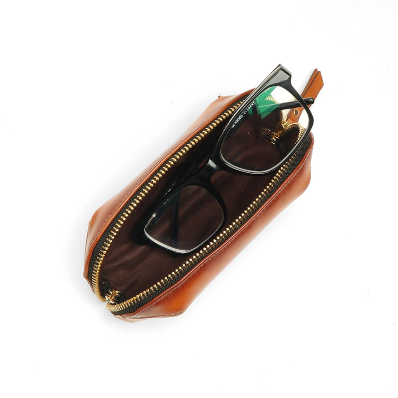 Tan Leather Eyewear Glasses Cover by BRUNE