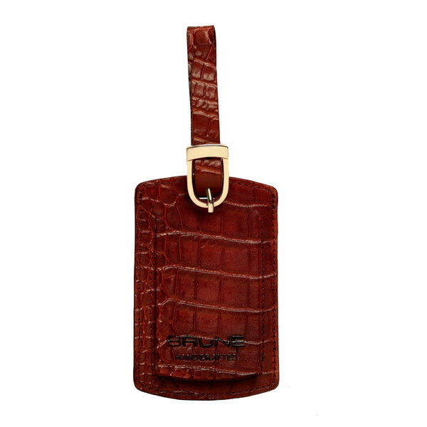 Brown Croco Print Leather Bags Tag by BRUNE