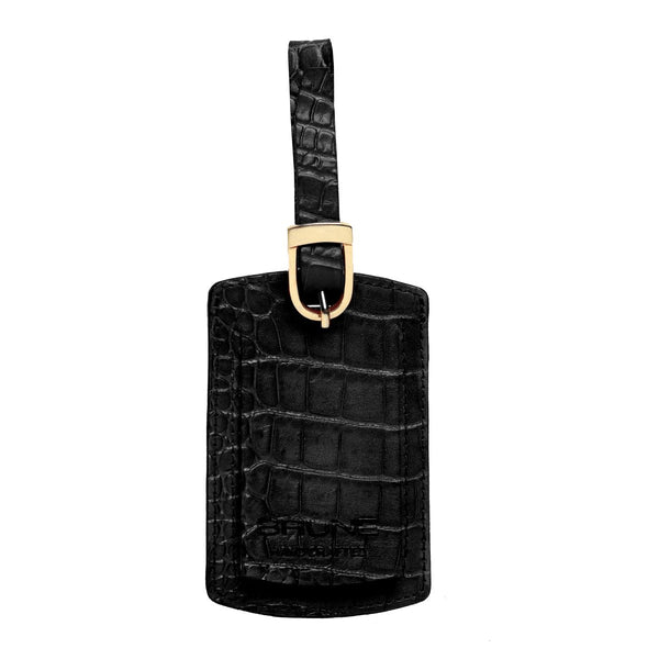 Black Croco Print Leather Bags Tag by BRUNE