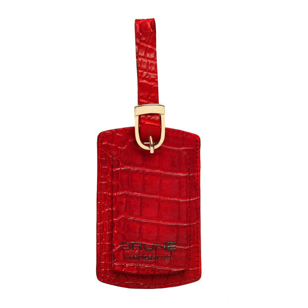 Red Croco Print Leather Bags Tag by BRUNE