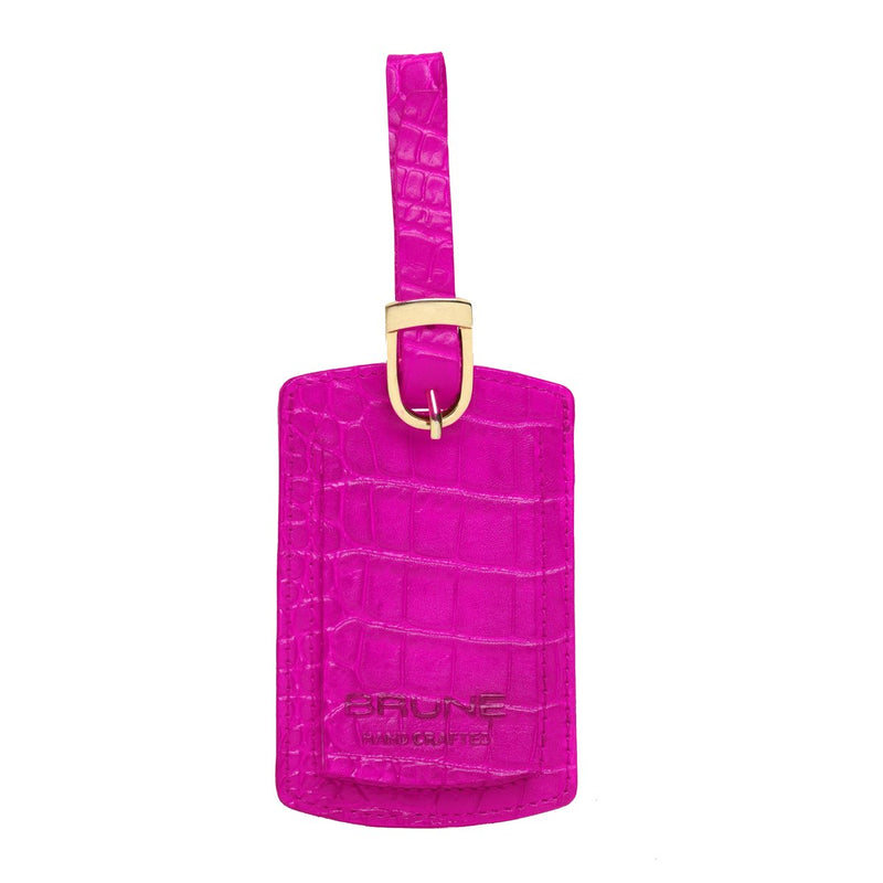 Pink Croco Print Leather Bags Tag by BRUNE