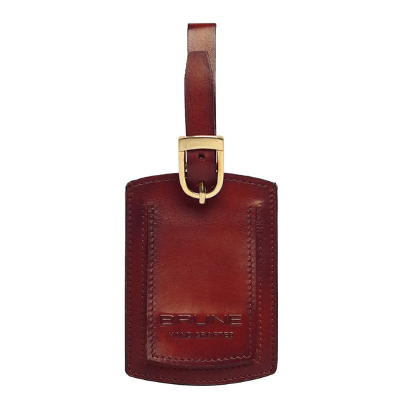 Brown High Veg Tan Leather Bag Tag by BRUNE