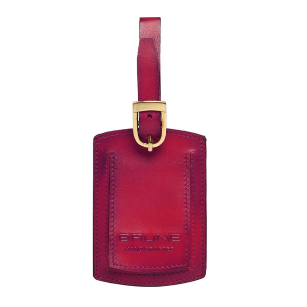 Wine High Veg Tan Leather Bag Tag by BRUNE