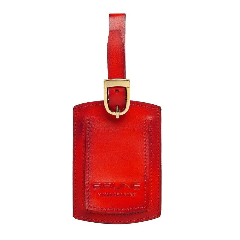 Red High Veg Tan Leather Bag Tag by BRUNE