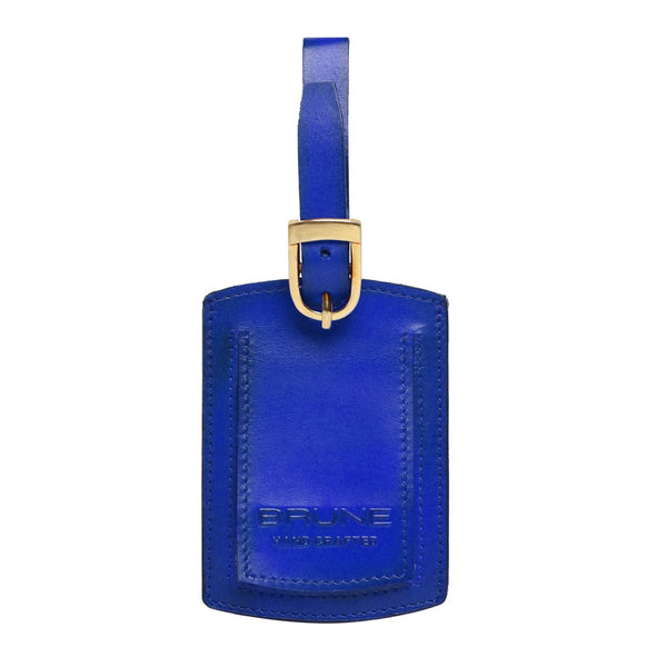 Blue High Veg Tan Leather Bag Tag by BRUNE