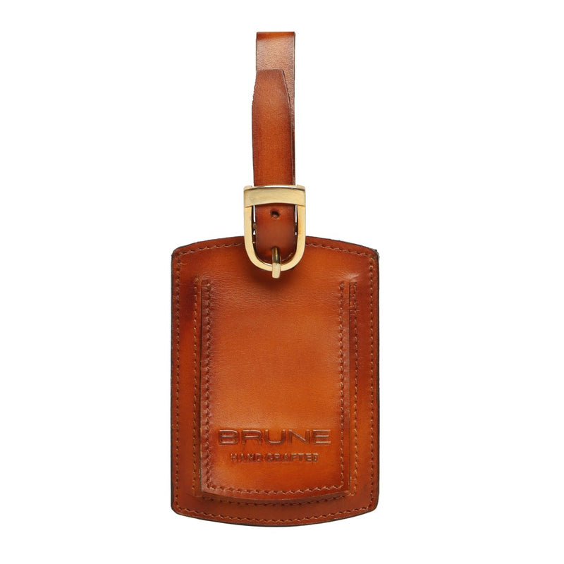 Tan High Veg Tan Leather Bag Tag by BRUNE