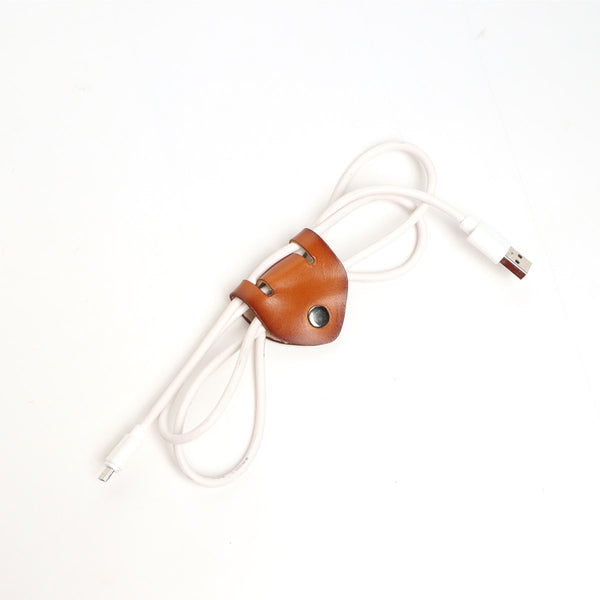 Tan Leather Cord Organizer with Split Design by Brune & Bareskin