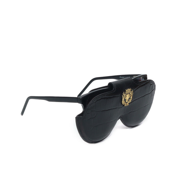 Black Croco Print Leather With Metal Lion Eyewear Glasses Cover by BRUNE