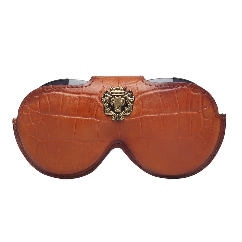 Tan Croco Print Leather With Metal Lion Eyewear Glasses Cover by BRUNE