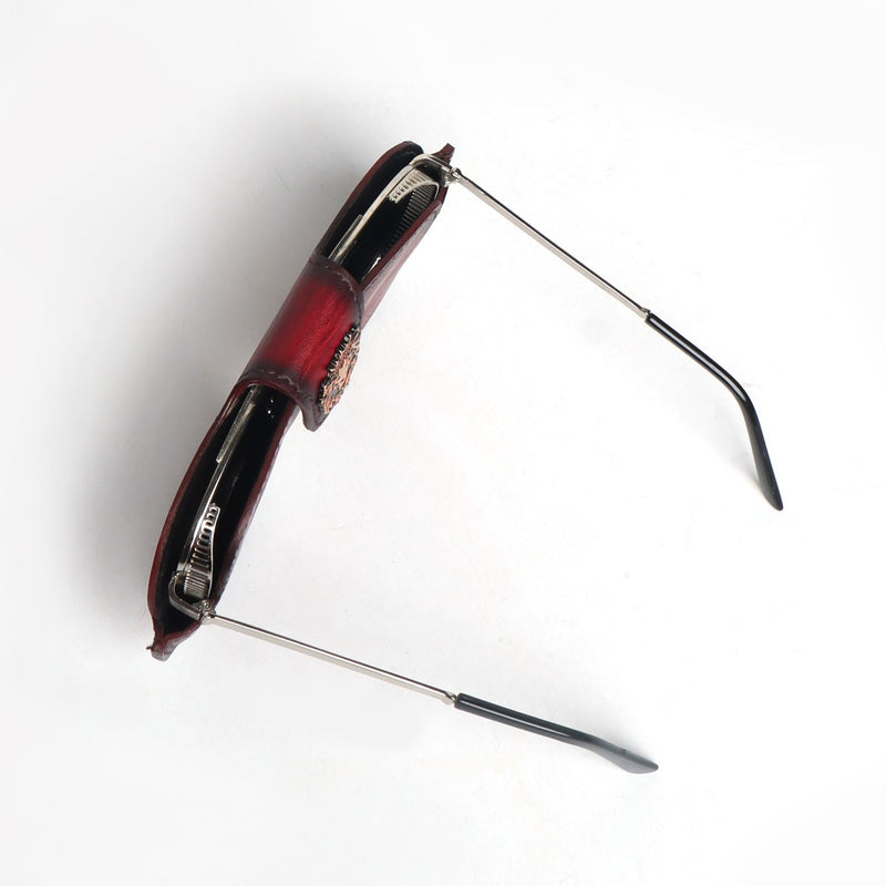 Wine Leather Elegant Look With Metal Lion Eyewear Glasses Cover by BRUNE