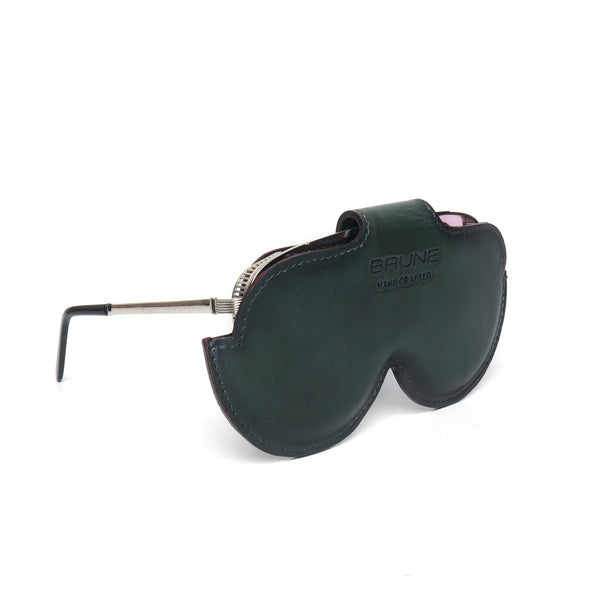 Green Leather Elegant Look With Metal Lion Eyewear Glasses Cover by BRUNE