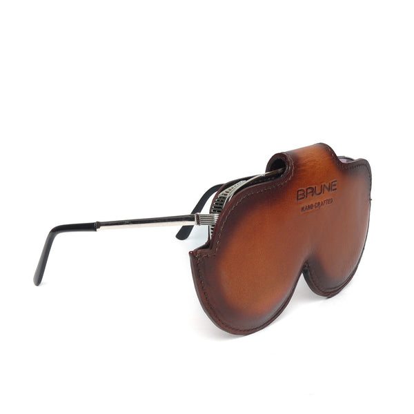 Tan Leather Elegant Look With Metal Lion Eyewear Glasses Cover by BRUNE