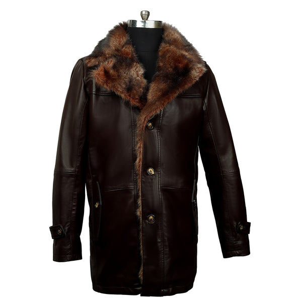 Brown Furr Collar & Sleeves Leather Jacket By Bareskin