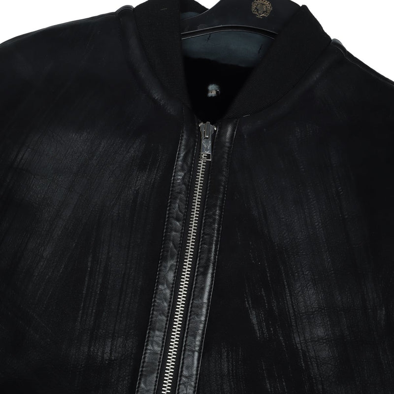 Men'S Genuine Leather with Rib Collar Black Colour Biker Jacket By Bareskin