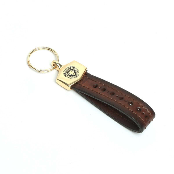 Brown Brogue Leather Gold Finish Fitting Brune And Bareskin Keychain