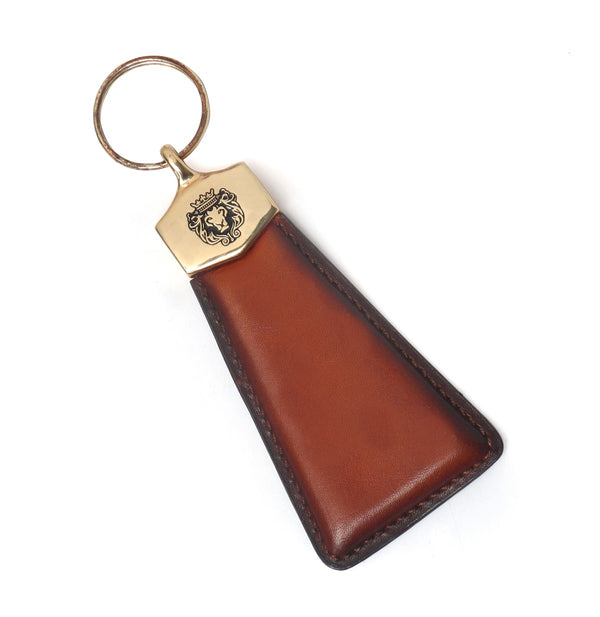 Tan Triangular Leather Gunmetal Fitting Brune And Bareskin Keychain
