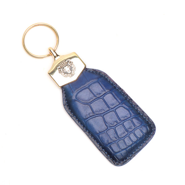 Blue Croco Print Leather With Golden Lion Logo Keychain By Brune & Bareskin