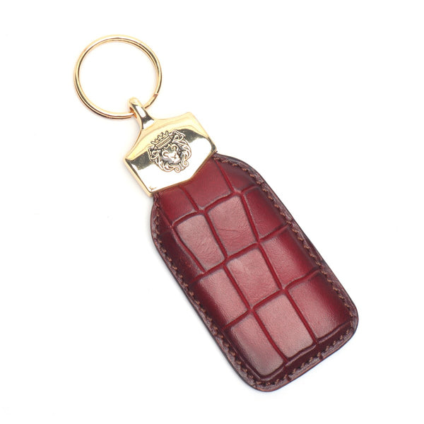 Wine Deep Cut Croco Print Leather Large Scales Brune & Bareskin Keychain