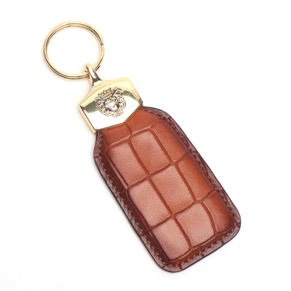 Tan Deep Cut Croco Print Leather Large Scales Brune & Bareskin Keychain