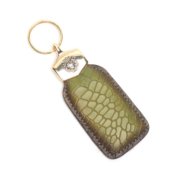 Olive Deep Cut Scales Croco Print Leather Brune & Bareskin Keychain