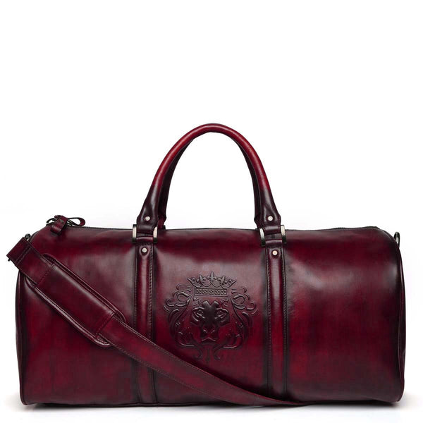 Brune X Bareskin Embossed Lion Wine Leather Duffle Bag