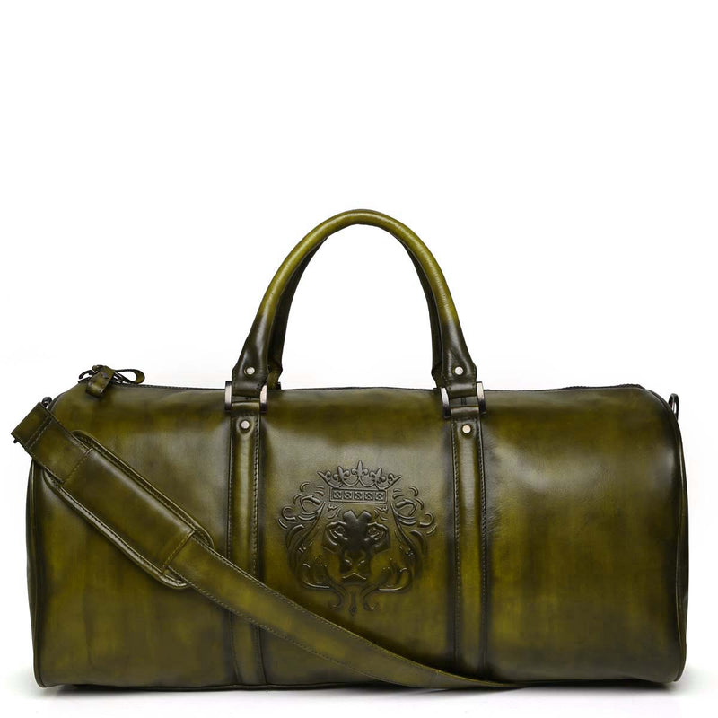 Brune X Bareskin Embossed Lion Olive Green Leather Duffle Bag
