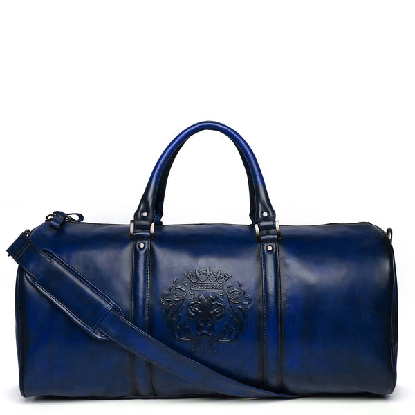 Brune X Bareskin Embossed Lion Blue Leather Duffle Bag