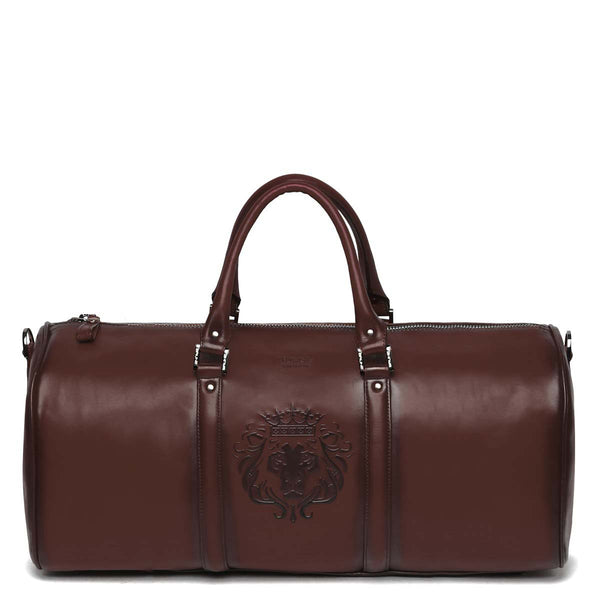 Brune X Bareskin Embossed Lion Brown Leather Duffle Bag