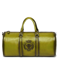 Brune X Bareskin Embossed Lion Olive Leather Duffle Bag