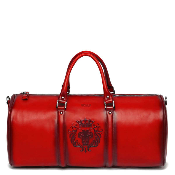 Brune X Bareskin Embossed Lion Red Leather Duffle Bag