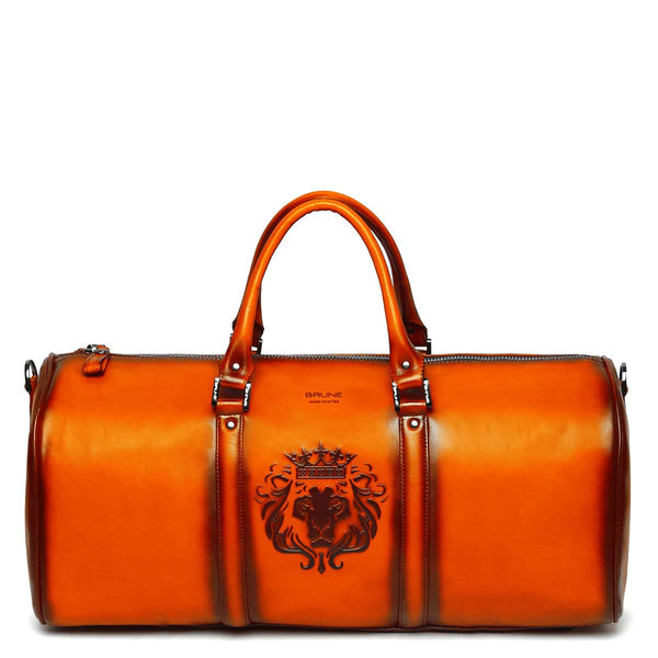 Brune X Bareskin Embossed Lion Orange Leather Duffle Bag