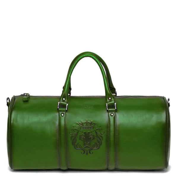 Brune X Bareskin Embossed Lion Green Leather Duffle Bag