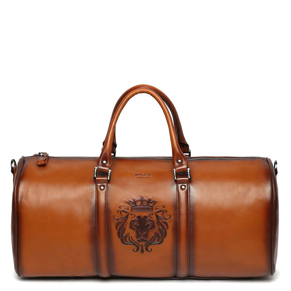 Brune X Bareskin Embossed Lion Tan Leather Duffle Bag
