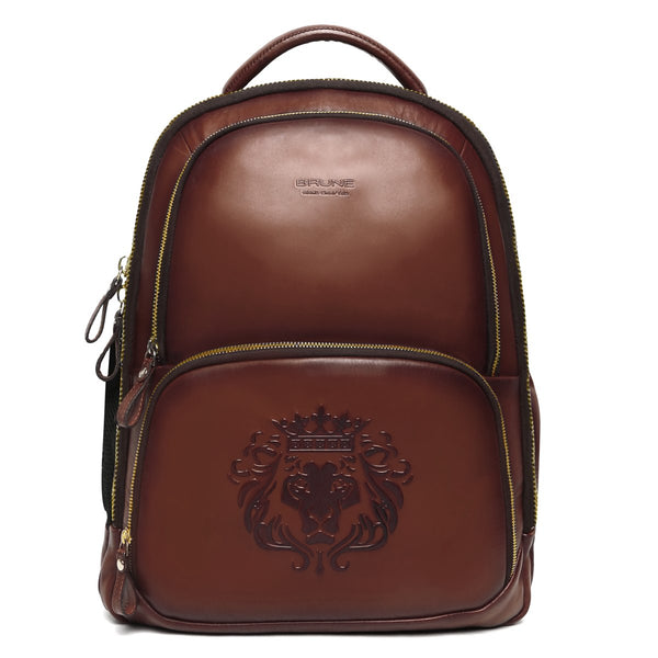 Brune X Bareskin Embossed Lion Brown Leather Backpack