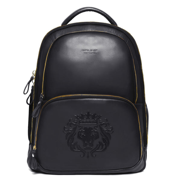 Brune X Bareskin Embossed Lion Black Leather Backpack