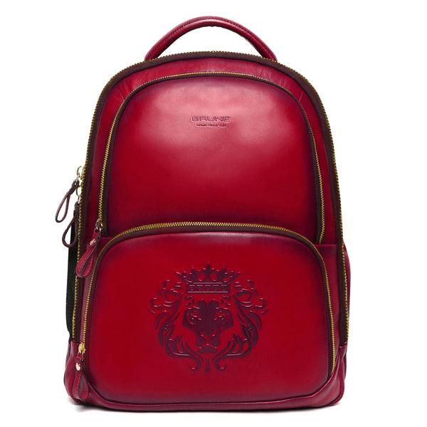 Brune X Bareskin Embossed Lion Wine Leather Backpack