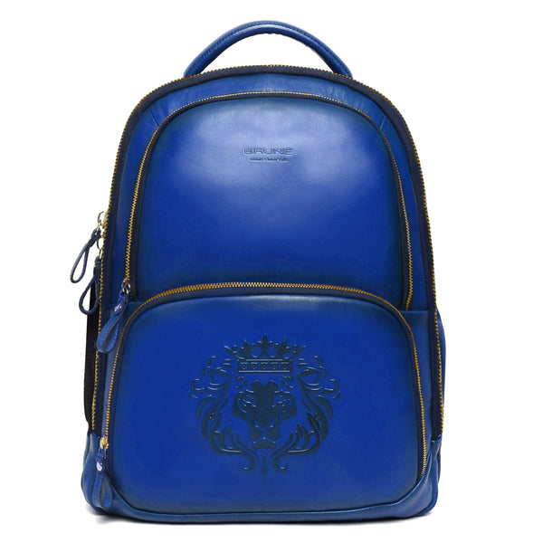 Brune X Bareskin Embossed Lion Blue Leather Backpack