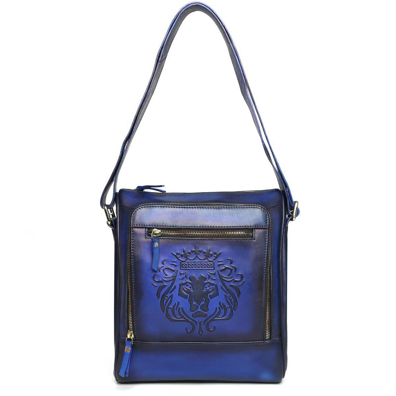 Embossed Lion Blue Leather Cross Body Bag By Brune