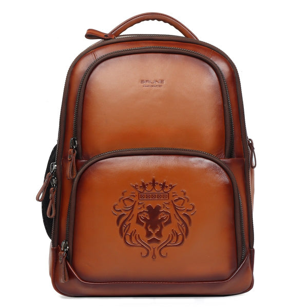 Lion Embossed Super Functional Tan Leather Backpack by Brune & Bareskin